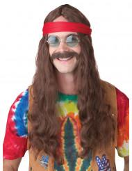 Parrucca Hippie con baffi