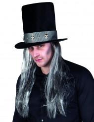 Cappello a cilindro gotico con parrucca per adulto - Halloween