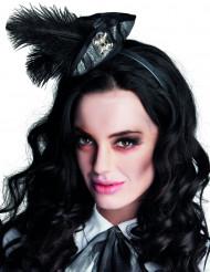Mini tricorno pirata con piume nere per donna