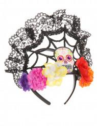 Accessorio di Halloween: cerchietto-corona di fiori Dia de los Muertos