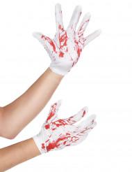Accessorio per Halloween: guanti corti bianchi insanguinati adulto