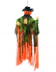 Decorazione di Halloween: zucca spaventapasseri da appendere