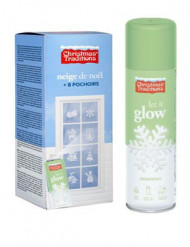 Spray effetto neve fosforescente con mascherine decorative Natale