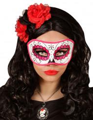 Mascherina rosa con paillettes adulto Giorno dei Morti