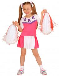 Costume Pompon girl rosa e bianco bambina