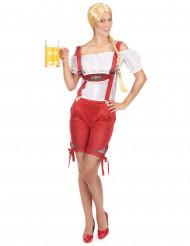 Costume tirolese corto rosso per donna