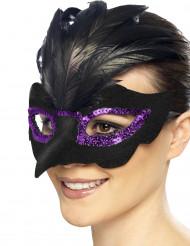 maschera di Carnevale da corvo con paillettes viola