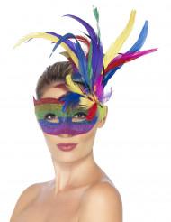 Maschera di Carnevale arcobaleno con piume