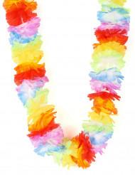 Collana hawaiana con fiori di stoffa per adulto
