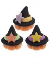 Decorazioni per dolci di Halloween: 3 cappelli da strega in pasta di mandorle