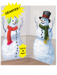 2 Decorazioni murali in plastica Omino di neve
