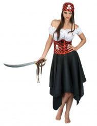 Costume pirata con corsetto a righe per donna