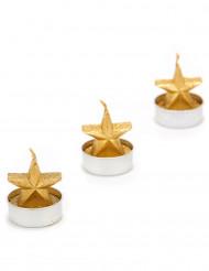 3 candele stelle dorate Natale