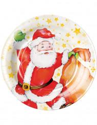 8 piatti cartone Babbo Natale 23 cm
