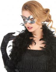 Maschera veneziana paillettes argentate adulto