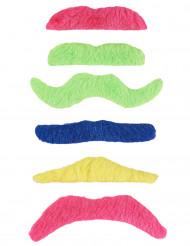 6 baffi adesivi fluo