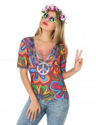 T-shirt hippie a fiori per donna