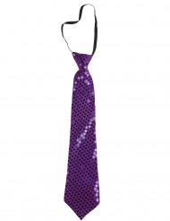 Cravatta a paillettes viola adulto