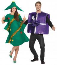 Travestimento coppia umoristico albero e regalo Natale