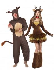 Travestimento coppia renne Natale adulti