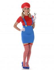 Costume da idraulico rosso da donna