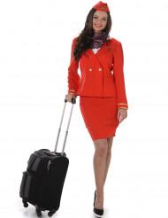 Costume da hostess di volo rosso per donna