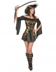 Costume da piratessa barocca nero oro per adulto