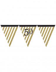 Ghirlanda di bandierine nero e oro 50 anni