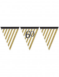 Ghirlanda di bandierine nere e oro 60 anni