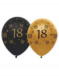 Confezione 6 palloncini nero e oro per compleanno 18 anni