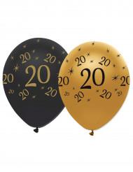 Confezione 6 palloncini nero e oro per compleanno 20 anni