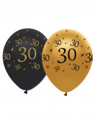 Confezione 6 palloncini nero e oro per compleanno 30 anni
