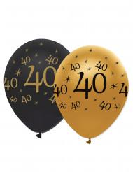 6 palloncini neri e oro numero 40