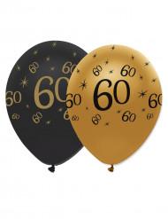 Confezione 6 palloncini nero e oro per compleanno 60 anni