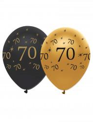 Confezione 6 palloncini nero e oro per compleanno 70 anni