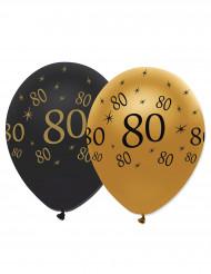 6 palloncini neri e oro 80 anni