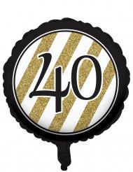 Palloncino di alluminio nero e oro 40 Anni