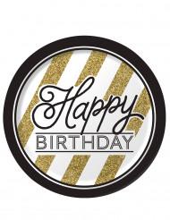 8 Piattini di carta happy Birthday nero/oro