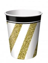 8 bicchieri di cartone nero e oro