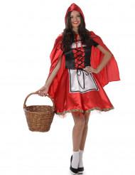 Costume da cappuccetto rosso con bustino per donna