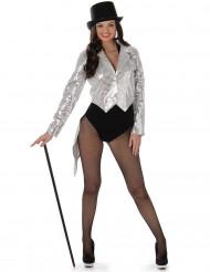 Costume giacca cabaret argentato donna