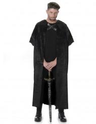 Mantello nero con finta pelliccia