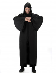 Mantello lungo di colore nero con cappuccio
