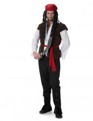 Costume da pirata con bandana rossa per adulto