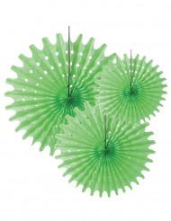 3 Festoni rotondi di carta verde anice