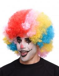Parrucca afro/clown multicolore adulto