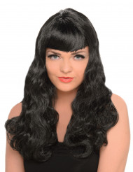 Parrucca nera lunga donna