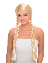 Parrucca bionda con trecce donna