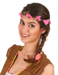 Corona di fiori rosa adulto