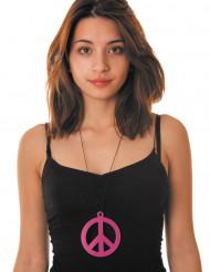 Collana hippie con simbolo della pace rosa fluo